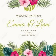 Wedding Invitation Card Design Template Exotic Tropical Greenery