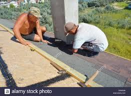 Kyiv Ukraine December 10 2018 Roofers Installing