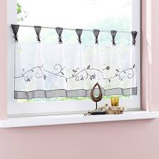 Uphome 1pcs Cute Embroidered Floral Window Tier Curtain - Kitchen ...