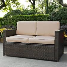 ko70092br sa sand and brown wicker patio furniture loveseat palm harbor