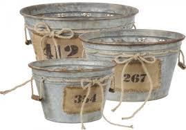 Galvanized Metal Vintage Style Planter Pots