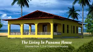 3d exterior view of yellow house with red roof house located on grass lot on beach