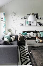 Awesome Design Ideas using Rectangular Black white Motif Rugs and  Rectangular White Fabric sofas also with White Loose Curtains. Living Room  ...