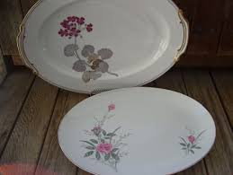 Rose Pattern China Classy Vintage Pink Roses Oval Platter Floral Golden Rose Pattern Fine