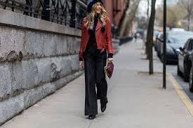 street style red leather jacket flare jeans