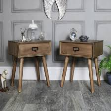 retro style furniture. Pair Of Brown Wooden Retro Style 1 Drawer Bedside Tables - Brixham Range Retro Style Furniture E