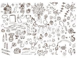 手書き線画ライン線素材セット可愛いポップイラスト No 489485無料