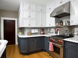 kitchen two tone cabinets brown and white stainless steel appliances rustic storage below all bright cabinet