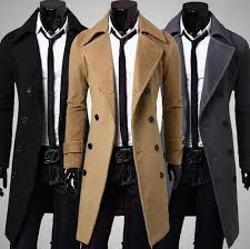 mens winter formal trench coat double ted overcoat long wool jacket outwear 1 of 12 see more