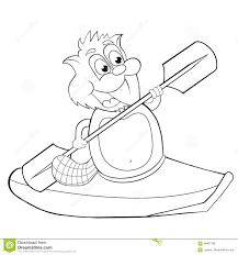 coloring book cartoon beaver with canoe vector clip art for children stock vector
