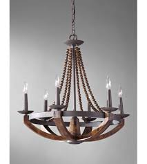 feiss f2749 6ri bwd adan 6 light 26 inch rustic iron and burnished wood
