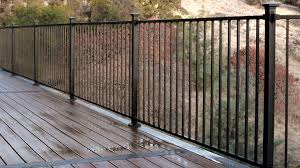 metal post. Contemporary Metal Fortress Fe26 Iron Panel Railing System Installed With Collar Brackets And  Flat Pyramid Post Caps  Throughout Metal