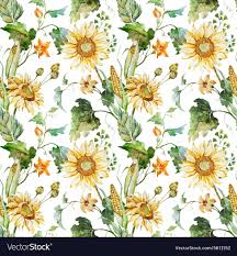 Sunflower Pattern Interesting Watercolor Sunflower Pattern Royalty Free Vector Image