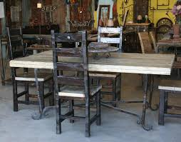 wrought iron and wood furniture. Click To Enlarge. Wrought Iron Table Base W/ Custom Wood Top \u0026 Chairs And Furniture A
