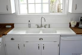 farmhouse sink with drainboard white