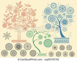 Mayan Patterns Fascinating The Tree Patterns With The Different Elements Vector Illustration
