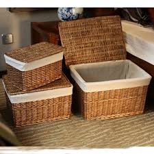 Classic Handwoven Household wicker storage basket with Lid with Cloth  Liners large laundry basket storage wicker rattan baskets-in Storage Baskets  from Home ...