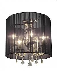 three light polished nickel silk string shade drum shade semi flush mount