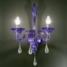 olivia murano glass sconce 2 lights purple and transpa