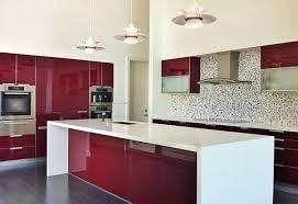 ... Dark red painted wood kitchen design