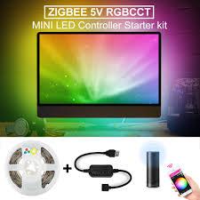 Light Smart Tv Us 23 99 50 Off Zigbee Led Rgbcct Mini Controller Smart Tv Strip Light 5v Usb Controller Voice Control App Control Zigbee Hub Echo Smartthings In