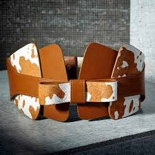 fioretto latest designer wide leather belt for las cow pattern loading