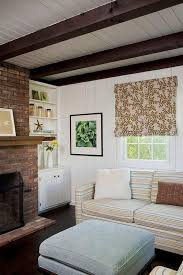 image result for white wooden ceiling with dark beams against dark brick