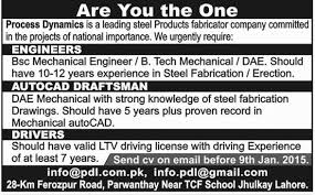 Autocad Draftsman Engineers Autocad Draftsman Job In Process Dynamics Steel Product