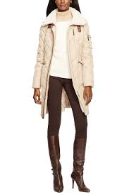 image of lauren ralph lauren faux shearling trim quilted down feather fill coat