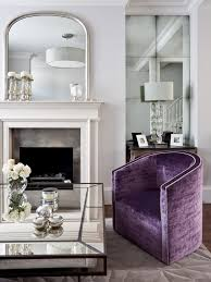 silver wall mirrors living room traditional with purple armchair purple velvet antique mirror coffee table