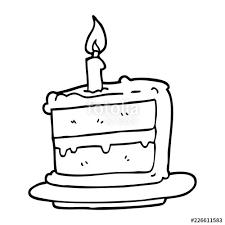 Line Drawing Cartoon Birthday Cake Stock Image And Royalty Free