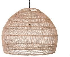 open weave cane rib bell pendant lamp