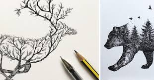 Sketches Animal Artist Fuses Animals With Nature Through Pen Sketches