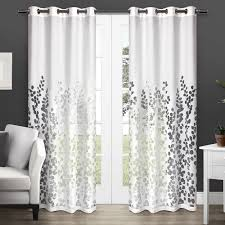 com exclusive home curtains wilshire burnout sheer grommet top window curtain panel pair winter white 54x84 home kitchen
