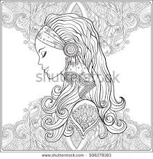 young woman with long hair in meval costume on decorative pattern background portrait in profile