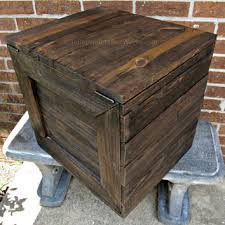 large rustic wooden crate with hinged lid handmade reclaimed wood side table with storage