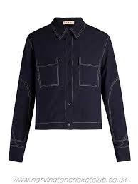 succinct marni jackets jacket navy clothing contrast stitch box cut womens
