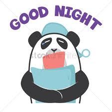 cartoon panda wishing goodnight vector graphic