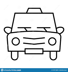 Car Outline Design Taxi Thin Line Icon Cab Vector Illustration Isolated On