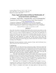 pdf fuzzy approach to interest rate in mathematics of actuarial science and finance