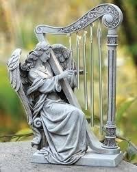 outdoor garden statues. Pack Of 2 Joseph\u0027s Studio Angel With Harp Wind Chime Religious Outdoor Garden Statues 10\