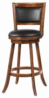 Furniture. brown wooden Swivel Bar Stools With round black leather ...