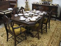 eight piece walnut dining set baker furniture co michigan c 1920 s prising rectangular extension dining table with three 9 75 leaves six dining