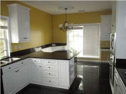 black granite floor and counter yellow