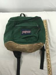 small jansport leather bottom backpack made in usa green bag