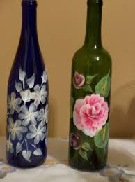 blue and green painted wine bottles