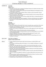 Resume Of Trainer Trainer Resume Samples Velvet Jobs