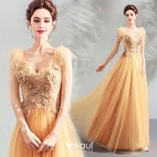 <b>Elegant Yellow</b> Prom Dresses <b>2019</b> A-Line / Princess V-Neck ...