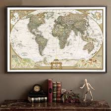Vintage Wall Chart Large Vintage World Map Office Supplies Detailed Antique Poster Wall Chart Retro Paper Matte Kraft Paper 28 18inch Map Of World Sticker On The Wall