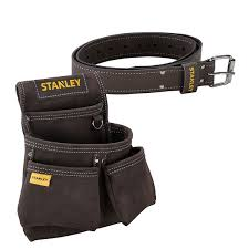 stanley sta180116 sta180119 leather belt with stanley leather double nail tool pouch